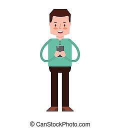 media, używając, smartphone, człowiek, towarzyski