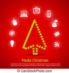 media, vector, kerstmis kaart