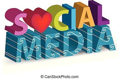 media, vector, woorden, sociaal