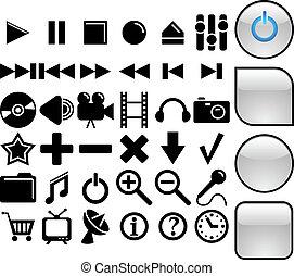 media, vettore, icone