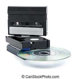 media - video cassette copy in cd disc isolated on white ...