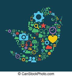 media, vogel, sociaal