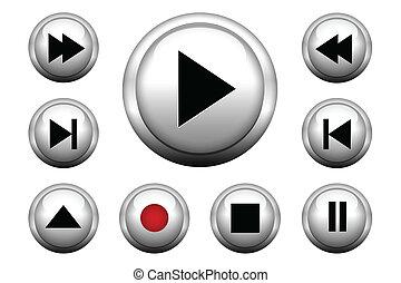 Media web buttons set