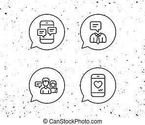 media, wiadomość, komunikacja, icons., towarzyski