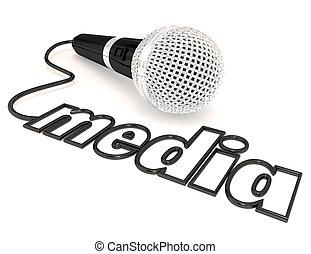 media, woord, microfoon, koord, berichtgeving,...