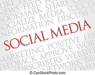 media, woord, wolk, sociaal