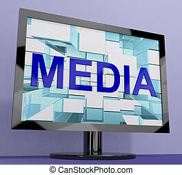 Media Word On Monitor Showing Internet OrTelevision Broadcasting