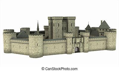 Medieval castle isolated on white, 3d digitally rendered illustration