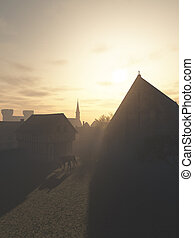 Mediaeval Gatehouse and Tithe Barn in Early Morning - ...