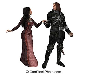 Armoured knight and lady in Mediaeval dress, holding hands, 3d digitally rendered illustration