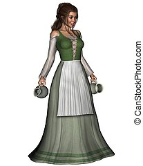 Mediaeval or Fantasy tavern serving girl carrying a pewter jug and tankard, 3d digitally rendered illustration