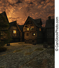 Mediaeval Street in the Dark After Sunset