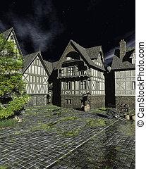 Mediaeval Street on a Bright Moonlit Night