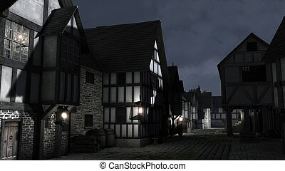 Street Scene at night set in a European town during the Middle Ages or Medieval period with half-timbered houses and market hall, 3d digitally rendered illustration