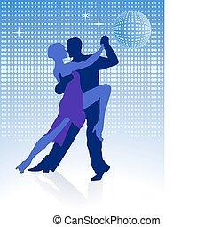 medianoche, alrededor, tango