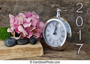 medianoche, o, reloj