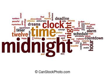 medianoche, palabra, nube
