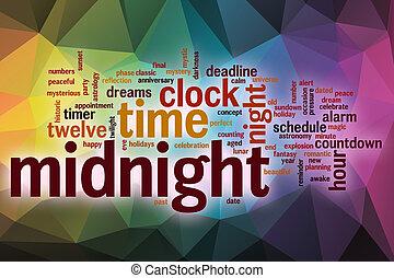 medianoche, resumen, palabra, nube, plano de fondo