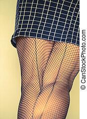 medias, cierre, falda, arriba