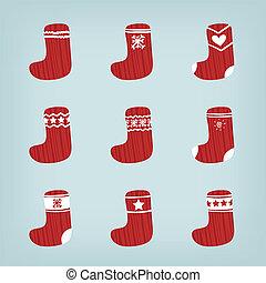 medias, conjunto, navidad