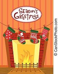 medias de navidad, tarjeta, saludo
