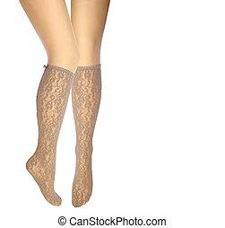 medias, piernas, mujer