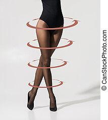 medias, sexy, piernas, flechas, hembra