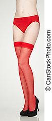 medias, zapatos de taco alto, rojo