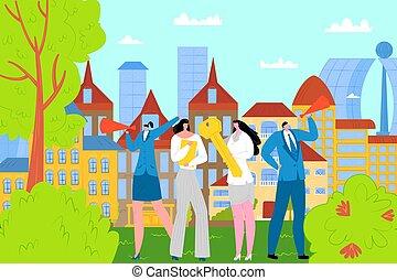 mediatore, standing, casa, venduto, illustration., concetto...