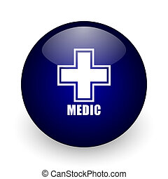 Medic blue glossy ball web icon on white background. Round 3d render button.