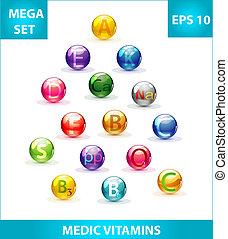 medic colored pills set
