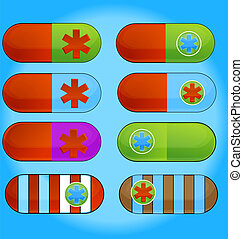 medic colored pills sign set isolated