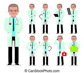 medic., dottore, set., creazione, carattere, pediatra, medico