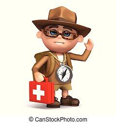 medic, explorateur, 3d