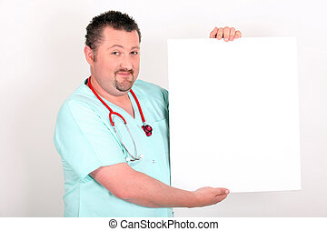 Medic holding a board left blank for your message
