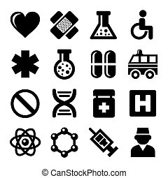 Medic Icons Set on White Background. Vector