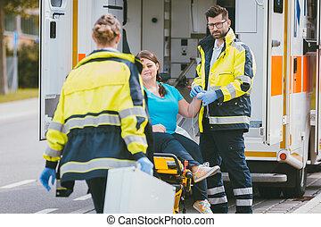 medic, og, nødsituation, doktor, snarlig, site, i, ulykke