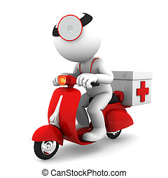 Medic on scooter. Emergency medical service concept. Isolated on white