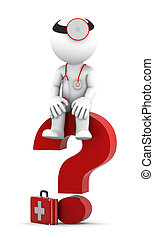 Medic sittting on question mark. Isolated over white
