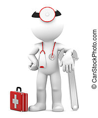 Medic with adjustable wrench. Repair concept. Isolated on...