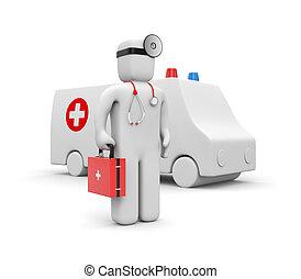 Medic with ambulance - Medical metaphor. Isolated on white