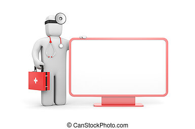 Medic with billboard - Medical concept. Isolated on white