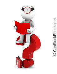 Medic with book sittting on red question mark. Isolated on white