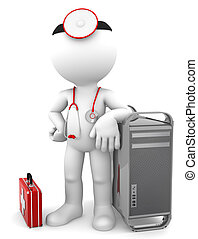 Medic with computer tower. Computer repair concept. Isolated on white background