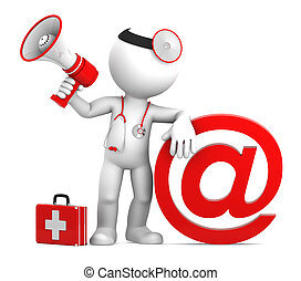 Medic with email sign. Isolated on white