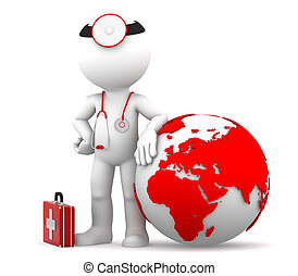 Medic with globe. Global medical services concept. Isolated