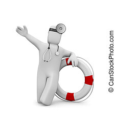 Medic with life buoy. Image contain clipping path - Image...