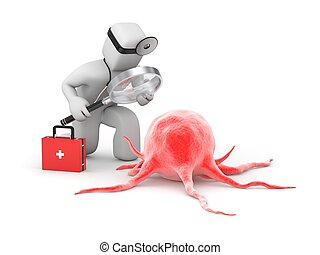 Medic with magnifying glass explores the disease or cancer cell
