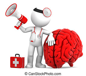 Medic with megaphone and big red brain. Isolated over white...