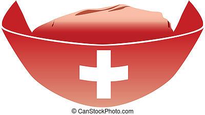medica, sombrero rojo